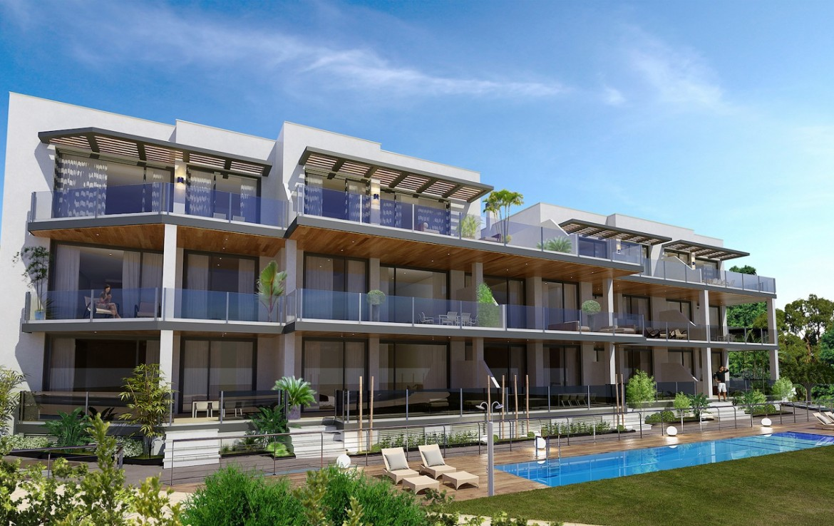 pool & front of Stunning New Boutique Development in Costalita