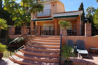 steps to terrace at Nueva Andalucia Villa with Pool
