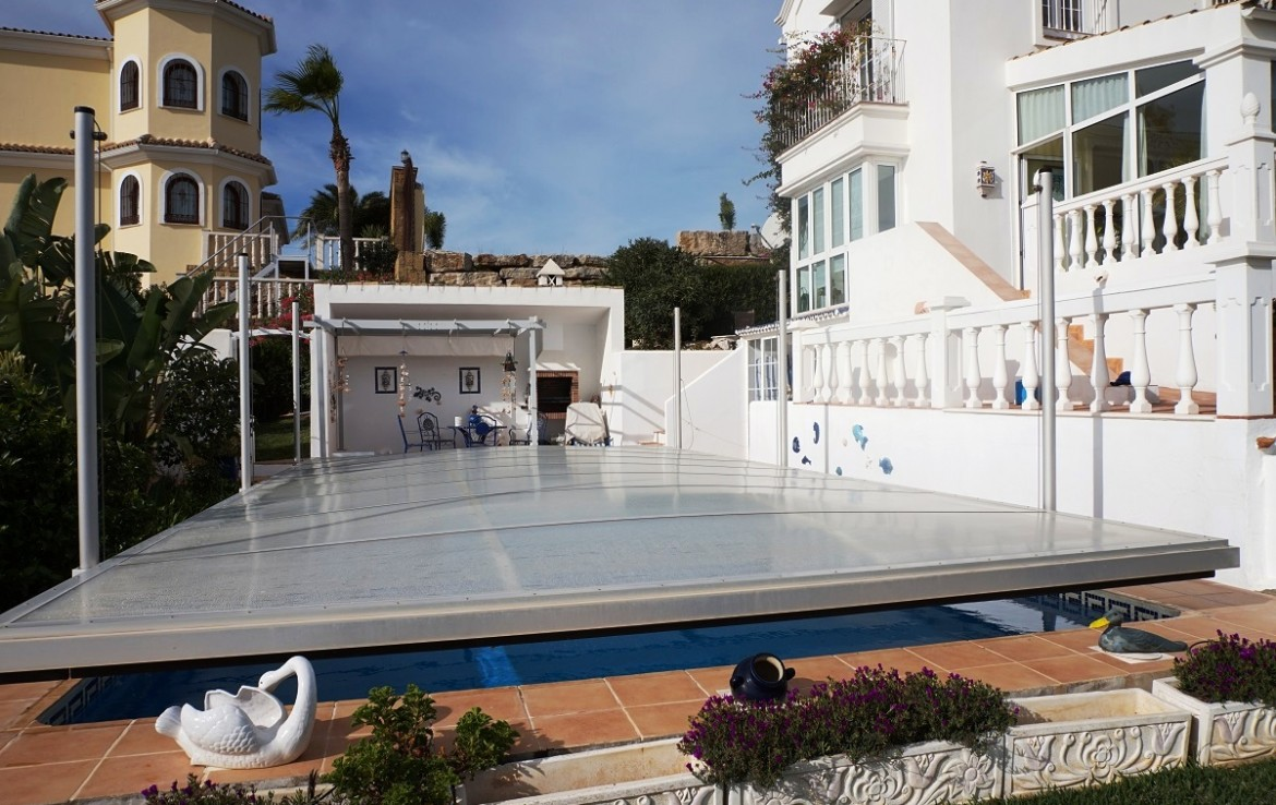covered pool at Manilva Villa with Stunning Sea Views