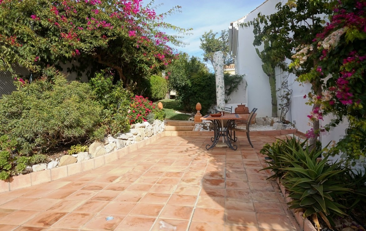 back yard Manilva Villa with Stunning Sea Views