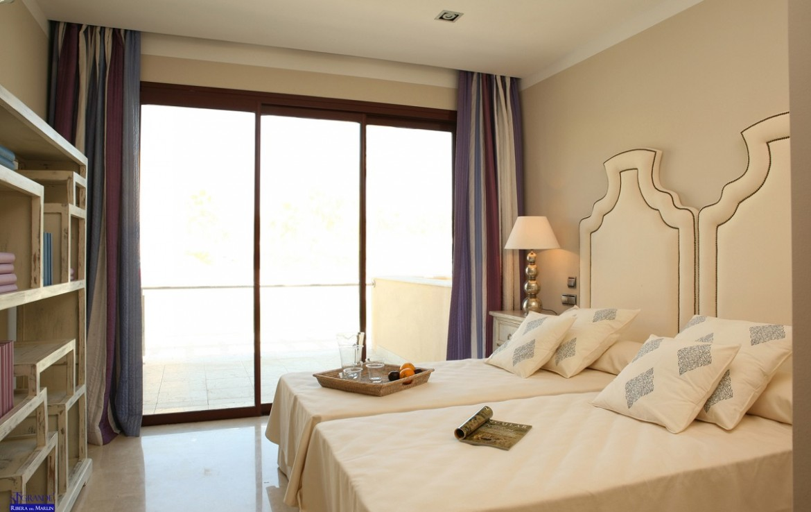 bedroom & terrace at New Apartments in Sotogrande Marina