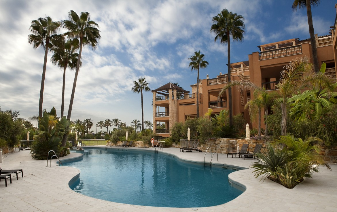 pool and surroundings of Beachfront Apartment in San Pedro