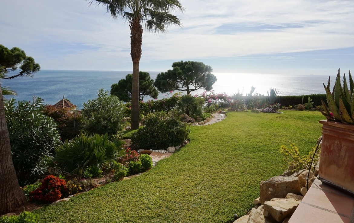 garden & view at Manilva Villa with Stunning Sea Views