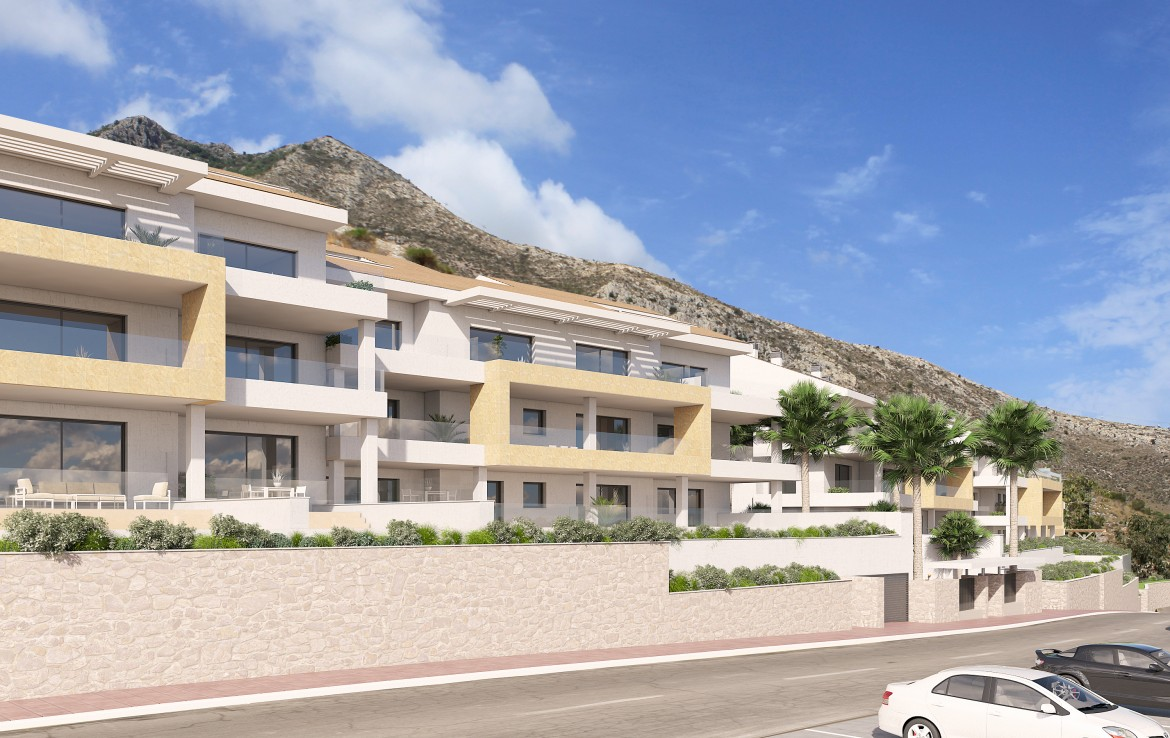 front of Modern Benalmadena Apartment with Sea Views