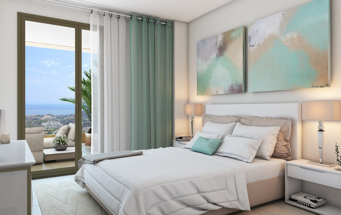 master bedroom of Modern Benalmadena Apartment with Sea Views