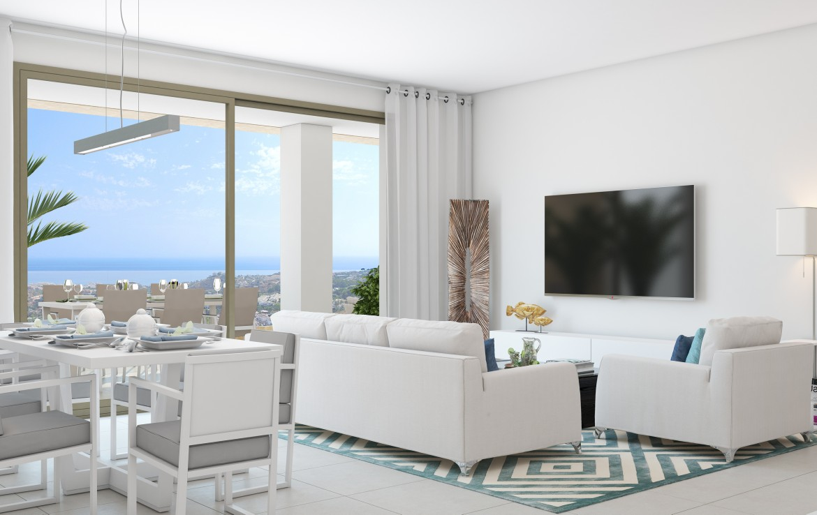 view from living room of New Benalmadena Penthouse with Sea Views