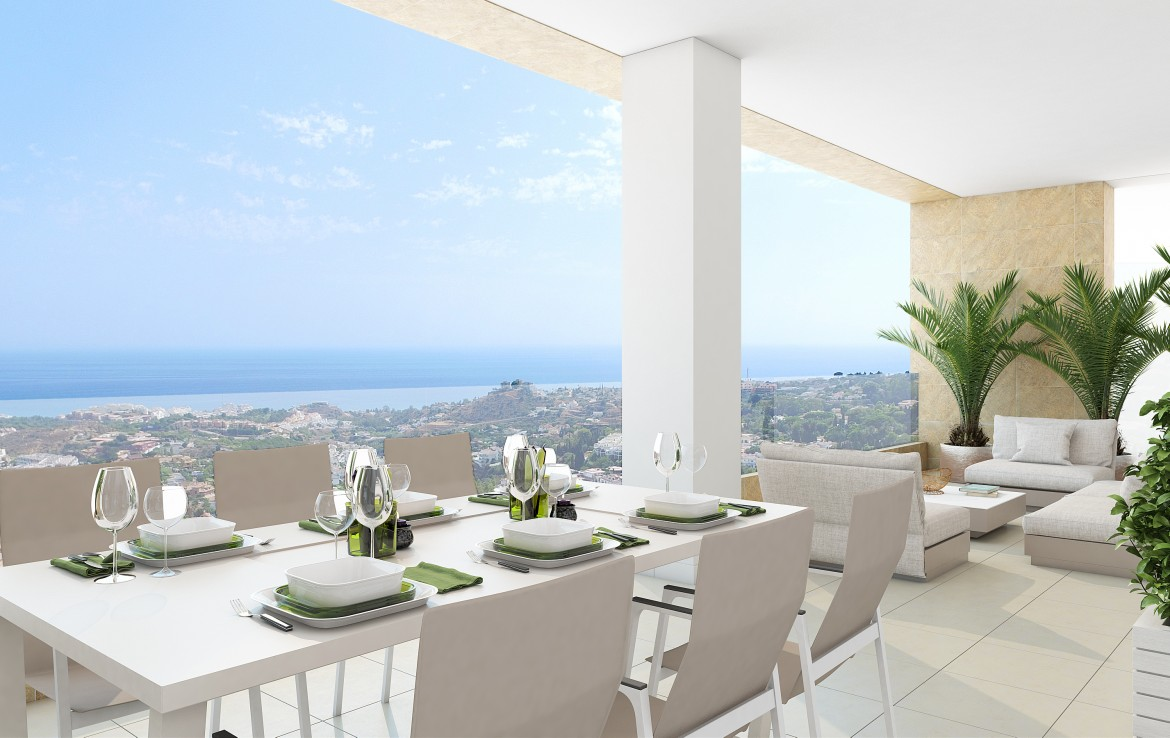 terrace view of Modern Benalmadena Apartment with Sea Views