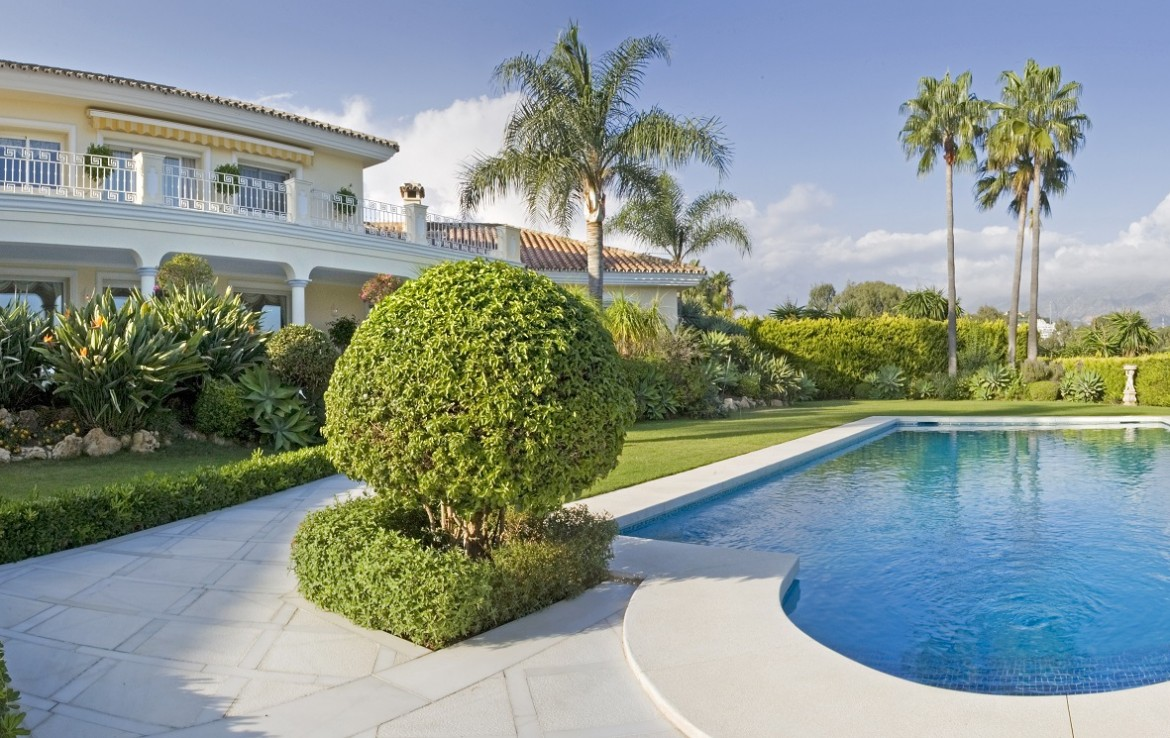 pool and gardens of Magnificent Villa in Nueva Andalucia