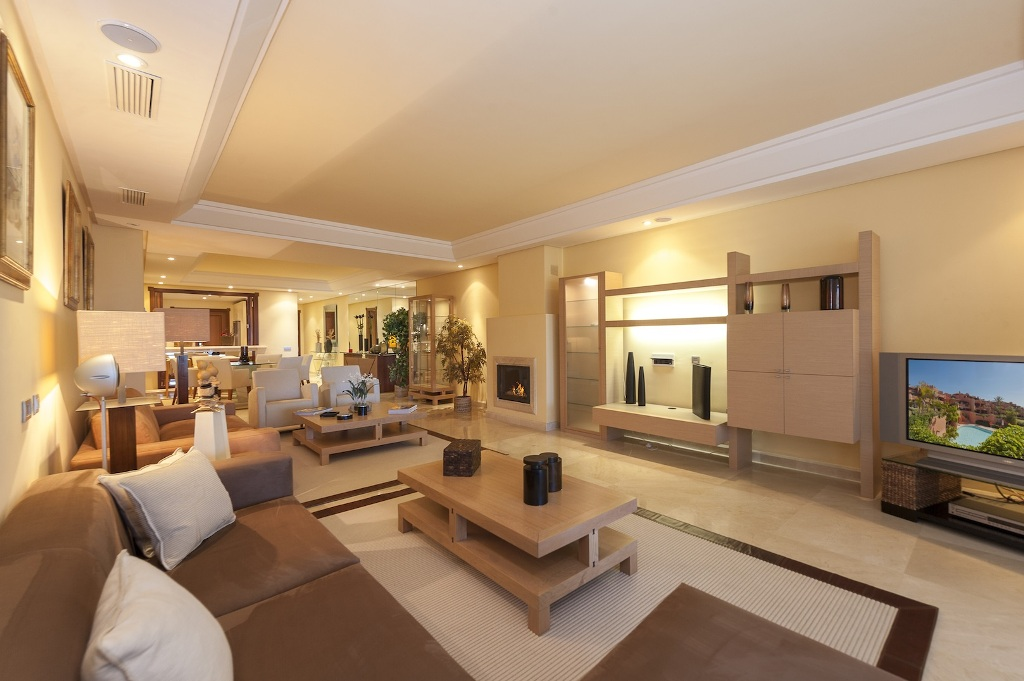 fireplace at Beachfront Apartment in Los Monteros, Marbella