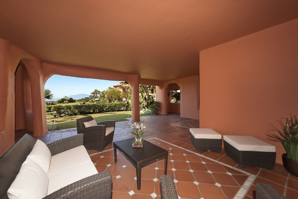 outside terrace at Beachfront Apartment in Los Monteros, Marbella