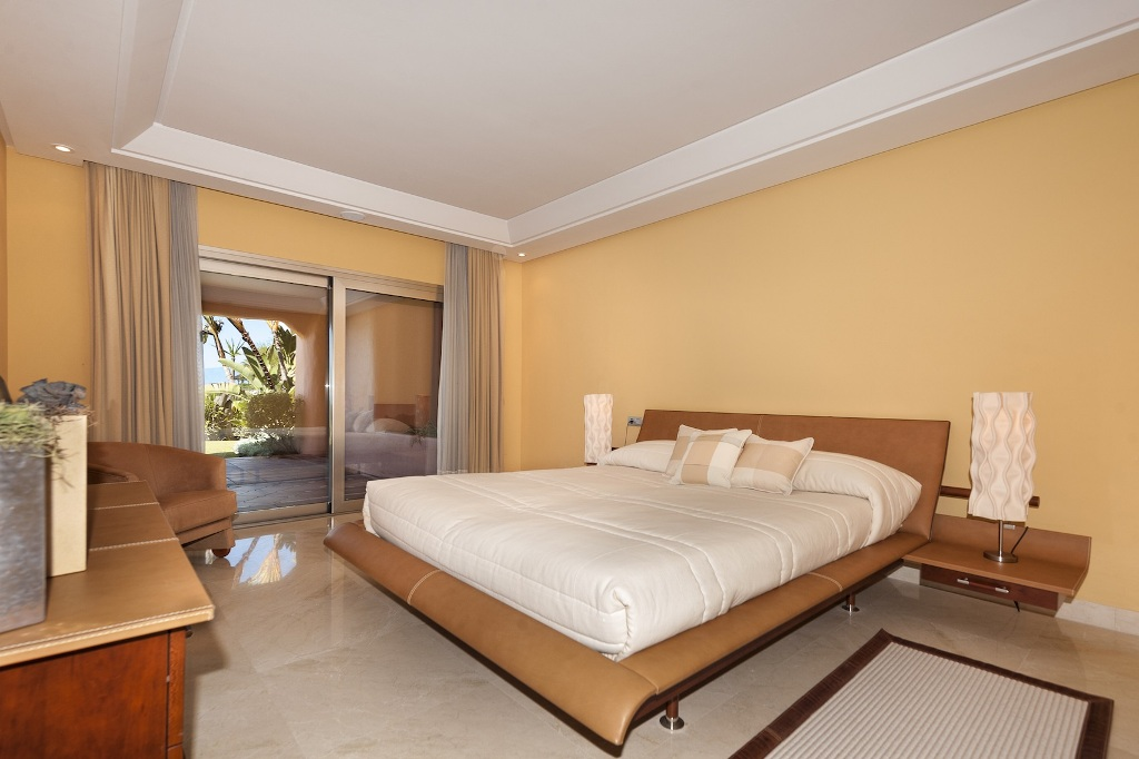 master bedroom of Beachfront Apartment in Los Monteros, Marbella