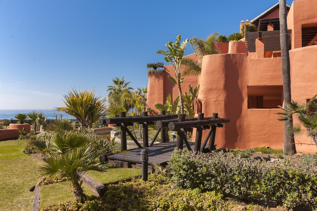 gardens of Beachfront Apartment in Los Monteros, Marbella