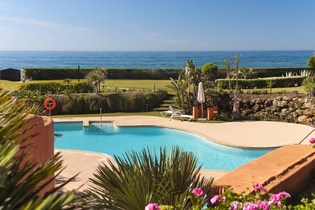 pool balcony in Beachfront Apartment in Los Monteros, Marbella