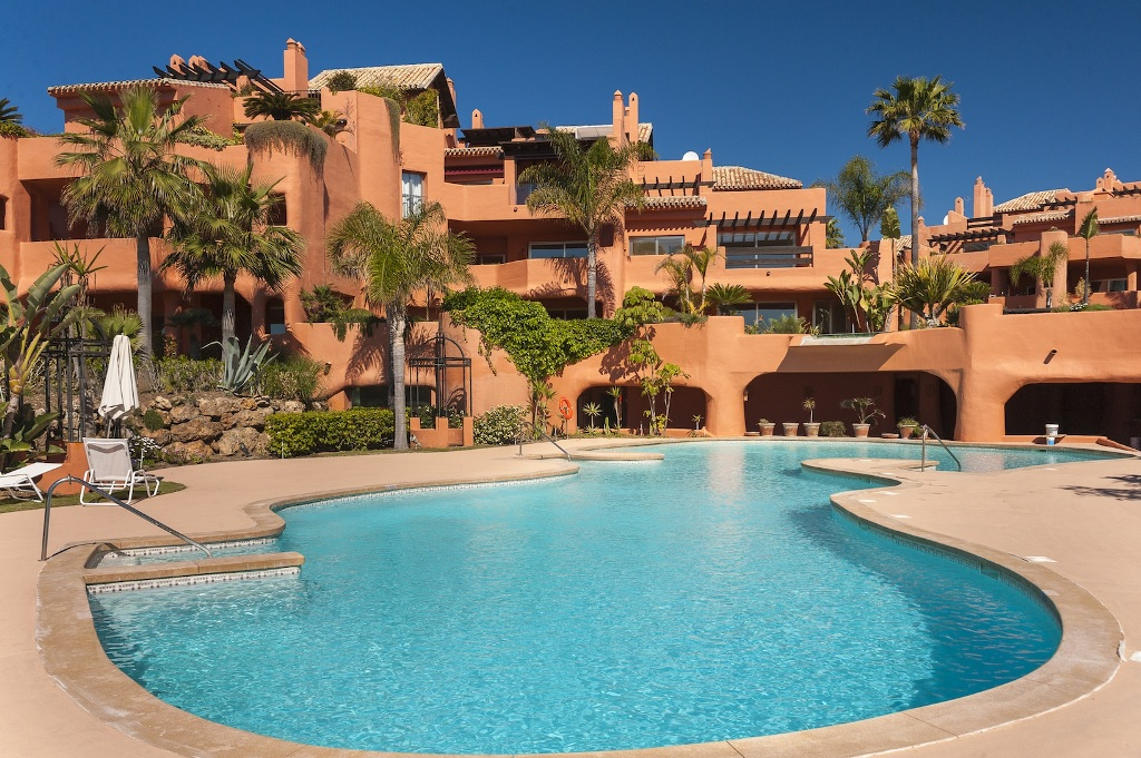 pool area at Beachfront Apartment in Los Monteros, Marbella